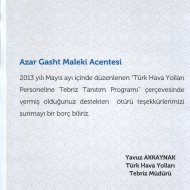 certificate of appreciation issued by turkish airlines for cooperation in handling tabriz tours for turkish airlines staff 2013 turkish language